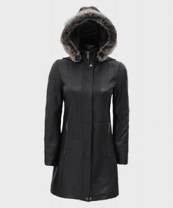 Faux Fur Leather Black Hooded Coat for Women's Outfits