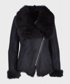 Womens Black Shearling Fur Leather Jacket