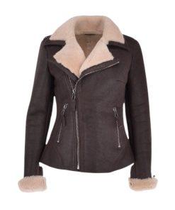 Women's Luxury Cream Brown Shearling Aviator Bomber Jacket